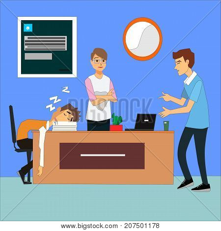 Bored and tired business team sleeping at presentation in office. Business People taking nap at conference illustration vector.