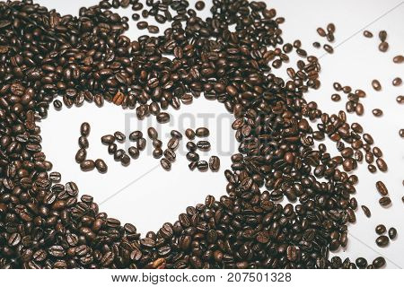coffee beans, love, heart, coffee on a white background