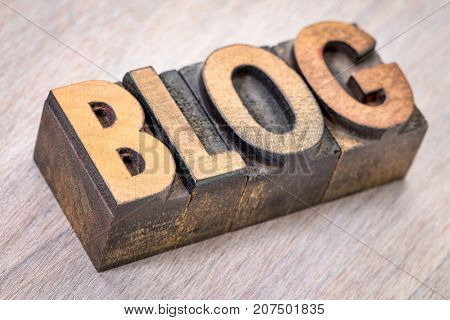 blog word abstract in vintage letterpress printing blocks against grained wood