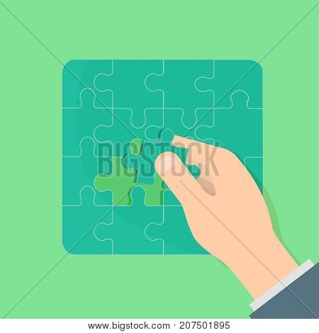 Completion mission concept with last puzzle. Businessman putting last puzzle in jigsaw. Business metaphor. Vector illustration flat design. Successful implementation of plan. Execute the plan. Vector Illustration