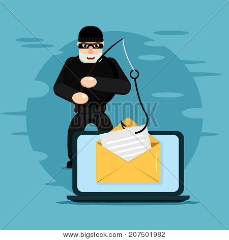Hacking phishing attack. Flat vector illustration of thief hacking email message or personal information on the blue background