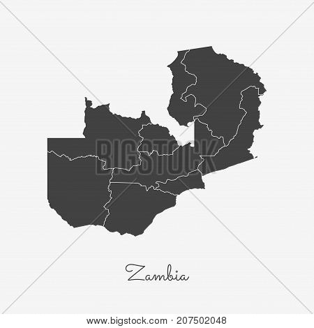 Zambia Region Map: Grey Outline On White Background. Detailed Map Of Zambia Regions. Vector Illustra