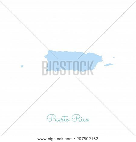 Puerto Rico Region Map: Colorful With White Outline. Detailed Map Of Puerto Rico Regions. Vector Ill