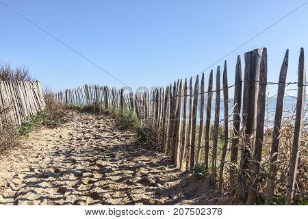 Footpath between wooden fences on the Atlantic Dune in Brittany in north-west of France.