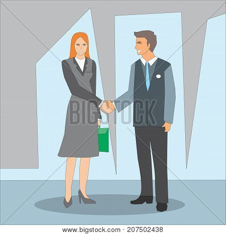 Smiling businessman and businesswoman shaking hands on a deal. Business people handshake partnership deal teamwork cooperation concept illustration vector.