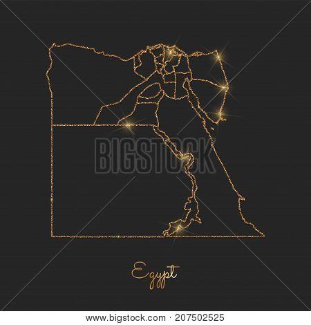 Egypt Region Map: Golden Glitter Outline With Sparkling Stars On Dark Background. Detailed Map Of Eg