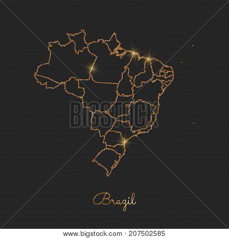Brazil Region Map: Golden Glitter Outline With Sparkling Stars On Dark Background. Detailed Map Of B