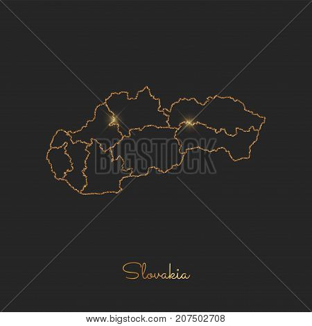 Slovakia Region Map: Golden Glitter Outline With Sparkling Stars On Dark Background. Detailed Map Of