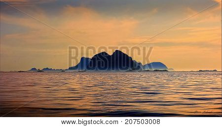 Seascape from Lofoten islands. This photo shows
