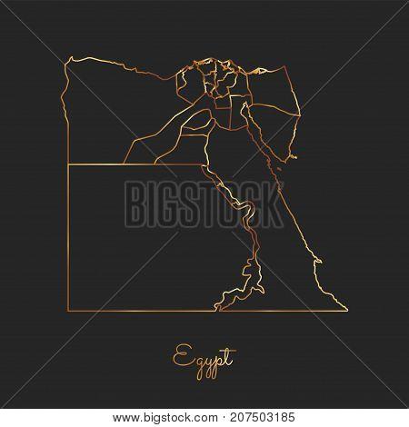 Egypt Region Map: Golden Gradient Outline On Dark Background. Detailed Map Of Egypt Regions. Vector