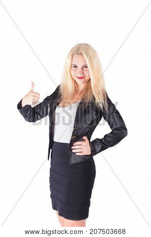 Business woman recommend.  girl office worker with thumb up