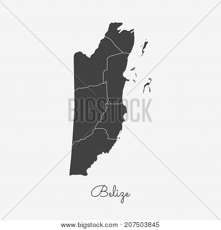 Belize Region Map: Grey Outline On White Background. Detailed Map Of Belize Regions. Vector Illustra