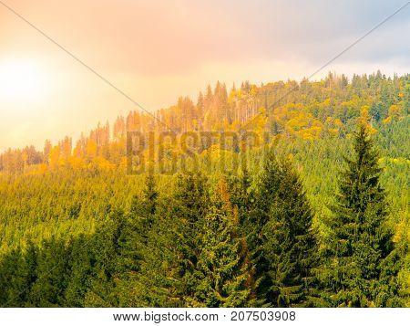 Stozec Mountain ridge with Stozec Rock on the top. Forest landscape of Sumava Mountains, Czech Republic.