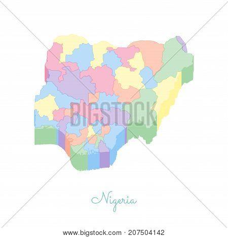 Nigeria Region Map: Colorful Isometric Top View. Detailed Map Of Nigeria Regions. Vector Illustratio