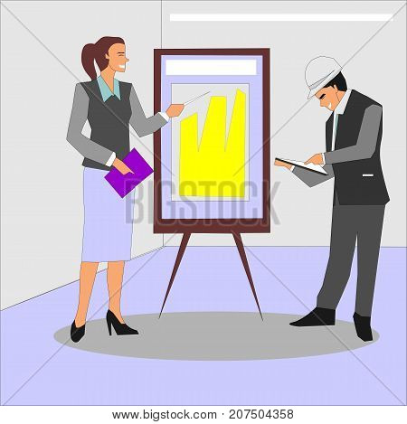 Cheerful businesswoman and architect brainstorming in office. Business meeting and consulting with people engineer and architect concept illustration vector.
