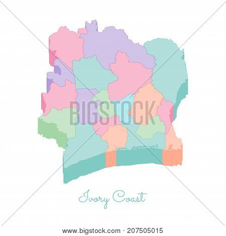 Ivory Coast Region Map: Colorful Isometric Top View. Detailed Map Of Ivory Coast Regions. Vector Ill