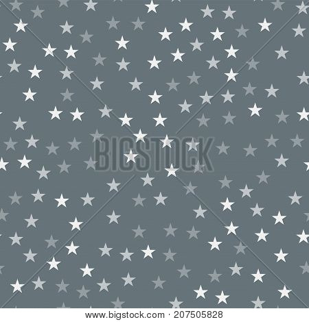 White stars seamless pattern on grey background. Awesome endless random scattered white stars festive pattern. Modern creative chaotic decor. Vector abstract illustration. poster