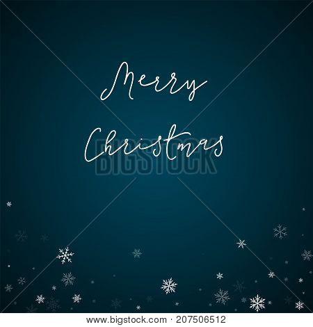 Merry Christmas Greeting Card. Sparse Snowfall Background. Sparse Snowfall On Blue Background. Wonde
