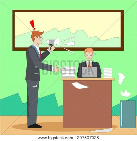 Boss screaming and yelling at businessman through megaphone. Angry boss shouting loudly at his employee concept illustration vector.