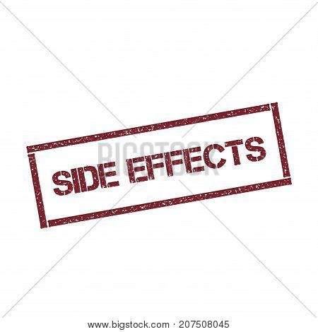 Side Effects Rectangular Stamp. Textured Red Seal With Text Isolated On White Background, Vector Ill