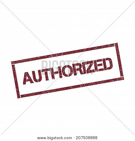 Authorized Rectangular Stamp. Textured Red Seal With Text Isolated On White Background, Vector Illus