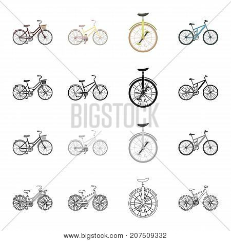 A bicycle, a vehicle for recreation and sports. Different kinds of bicycles set collection icons in cartoon black monochrome outline style vector symbol stock isometric illustration .