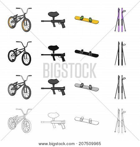 Sports bike, paintball machine, extreme snowboarding, downhill skiing. Extreme sport set collection icons in cartoon black monochrome outline style vector symbol stock Isometric illustration .