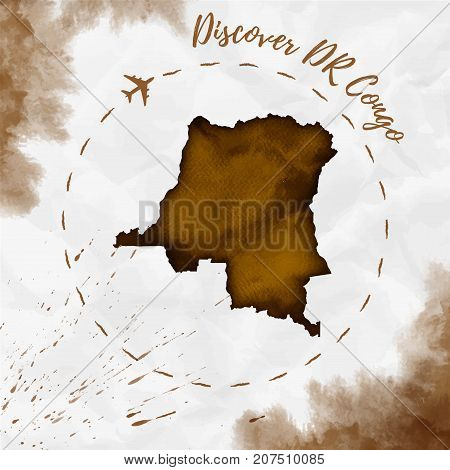 Dr Congo Watercolor Map In Sepia Colors. Discover Dr Congo Poster With Airplane Trace And Handpainte