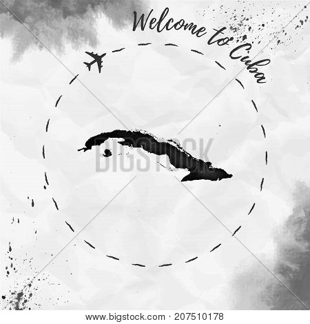 Cuba Watercolor Map In Black Colors. Welcome To Cuba Poster With Airplane Trace And Handpainted Wate