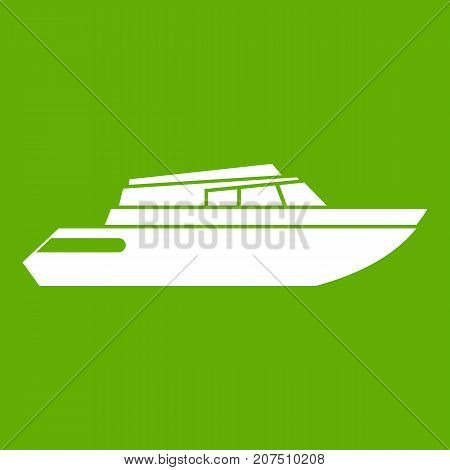 Planing powerboat icon white isolated on green background. Vector illustration