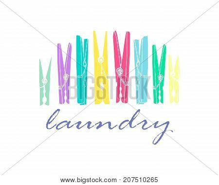 Old colored clothespins on a white background. Symbol for laundry. Vector illustration.