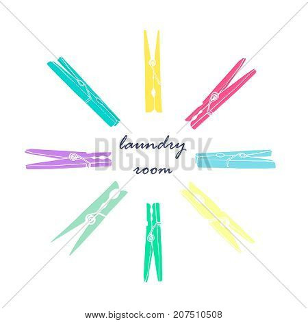 Old colored clothespins in a circle on a white background. Symbol for laundry. Vector illustration.