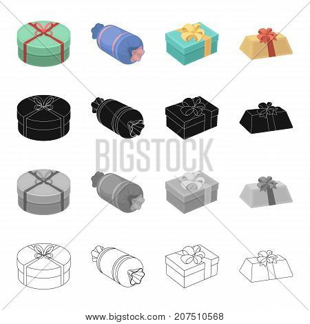 Different types of gift wrapping. Ribbon, bow and packing set collection icons in cartoon black monochrome outline style vector symbol stock isometric illustration .