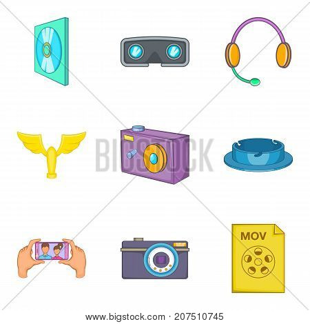 Filming icons set. Cartoon set of 9 filming vector icons for web isolated on white background