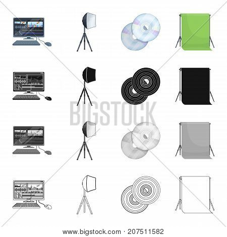 Computer, screen, keyboard, and other  icon in cartoon style.Cinematography, cinema, drama icons in set collection