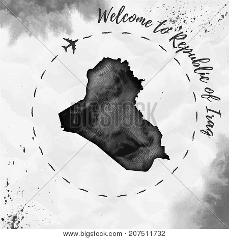 Republic Of Iraq Watercolor Map In Black Colors. Welcome To Republic Of Iraq Poster With Airplane Tr