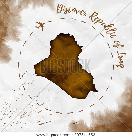 Republic Of Iraq Watercolor Map In Sepia Colors. Discover Republic Of Iraq Poster With Airplane Trac