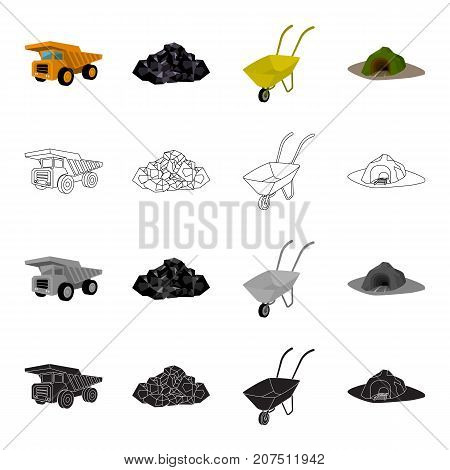 A rock, a large dump truck, a wheelbarrow, an entrance to the mine. Mining industry set collection icons in cartoon black monochrome outline style vector symbol stock isometric illustration .