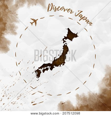 Japan Watercolor Map In Sepia Colors. Discover Japan Poster With Airplane Trace And Handpainted Wate