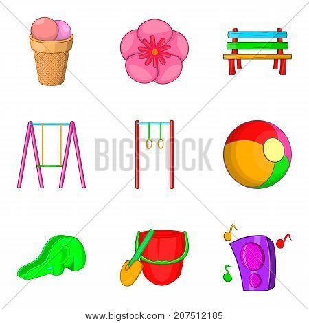 Walking in children park icons set. Cartoon set of 9 walking in children park vector icons for web isolated on white background