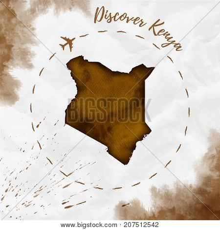 Kenya Watercolor Map In Sepia Colors. Discover Kenya Poster With Airplane Trace And Handpainted Wate