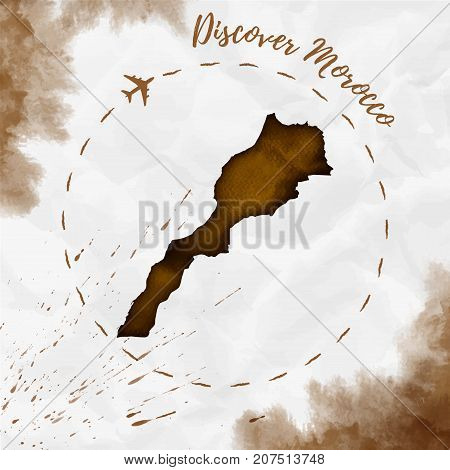 Morocco Watercolor Map In Sepia Colors. Discover Morocco Poster With Airplane Trace And Handpainted