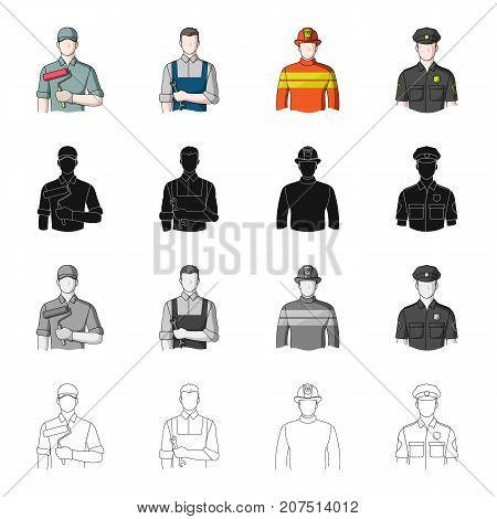 Man, builder, painter, and other  icon in cartoon style.Work, vocation, profession icons in set collection