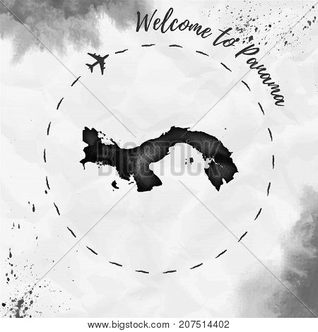Panama Watercolor Map In Black Colors. Welcome To Panama Poster With Airplane Trace And Handpainted