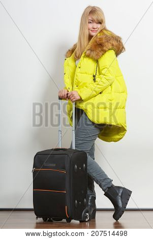 Happy Young Woman In Warm Jacket With Suitcase.
