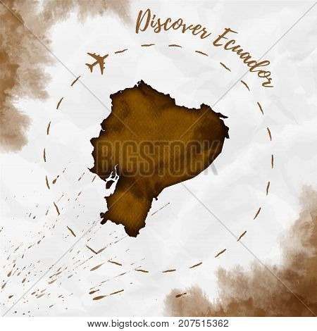 Ecuador Watercolor Map In Sepia Colors. Discover Ecuador Poster With Airplane Trace And Handpainted
