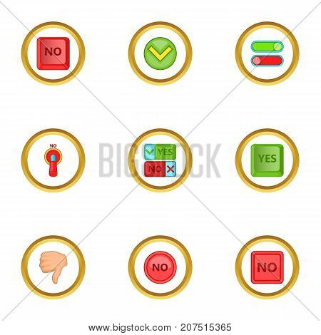 Yes and no sign icons set. Cartoon style set of 9 yes and no sign vector icons for web design