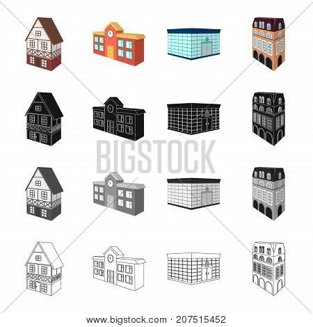 Building, store, library, and other  icon in cartoon style. Penthouse, material, palace icons in set collection poster