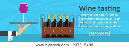 Wine tasting banner horizontal concept. Flat illustration of wine tasting banner horizontal vector concept for web design