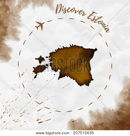 Estonia Watercolor Map In Sepia Colors. Discover Estonia Poster With Airplane Trace And Handpainted